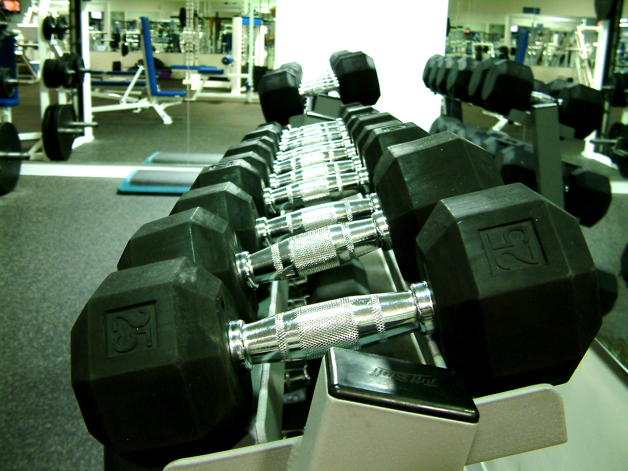 a rack of free weights