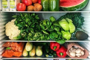 Fridge filled with healthy food